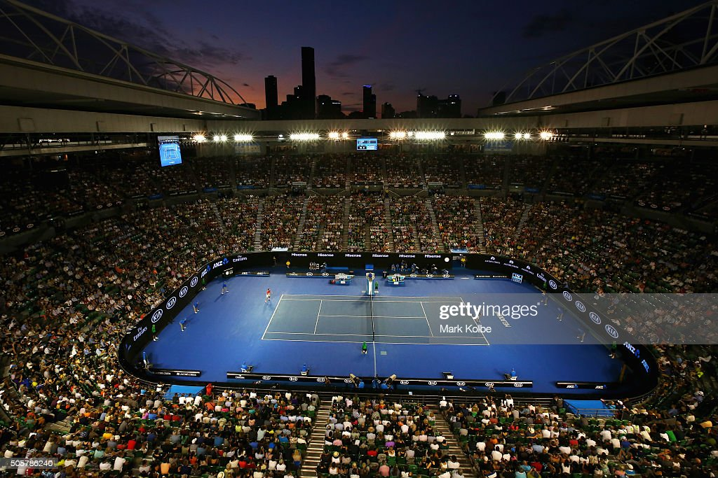 A general view is seen over Rod Laver Arena as Novak Djokovic of Serbia serves in his second round match against Quentin Halys of France during day three of the 2016 Australian Open at Melbourne Park on January 20, 2016 in Melbourne, Australia.