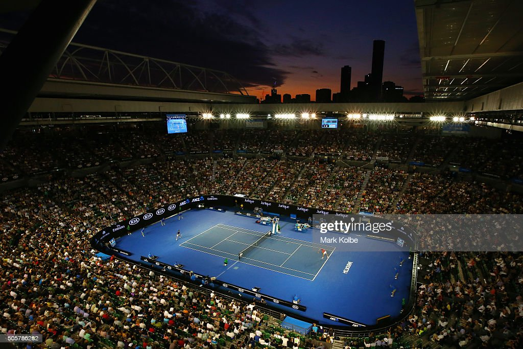 A general view is seen over Rod Laver Arena as Quentin Halys of France serves in his second round match against Novak Djokovic of Serbia during day three of the 2016 Australian Open at Melbourne Park on January 20, 2016 in Melbourne, Australia.
