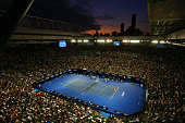 A general view is seen over Rod Laver Arena as Quentin Halys of France serves in his second round match against Novak Djokovic of Serbia during day...