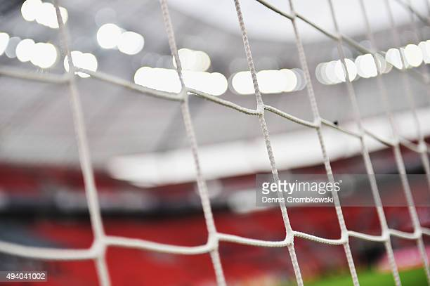 A general view is seen prior to kickoff during the Bundesliga match between Bayer Leverkusen and VfB Stuttgart at BayArena on October 24 2015 in...