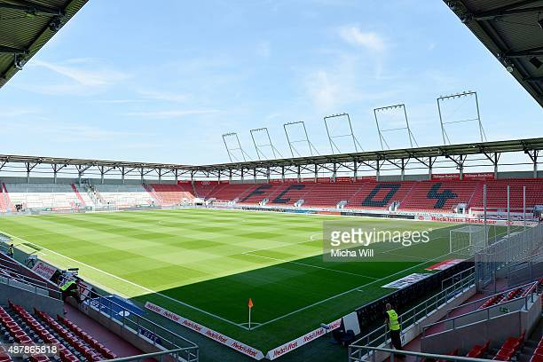 A general view is seen prior to the Bundesliga match between FC Ingolstadt and VfL Wolfsburg at Audi Sportpark on September 12 2015 in Ingolstadt...