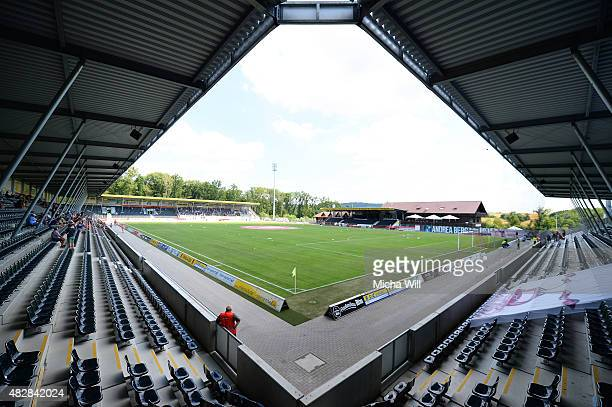 A general view is seen prior to the Third League match between SG Sonnenhof Grossaspach and Erzgebirge Aue at mechatronik Arena on August 2 2015 in...