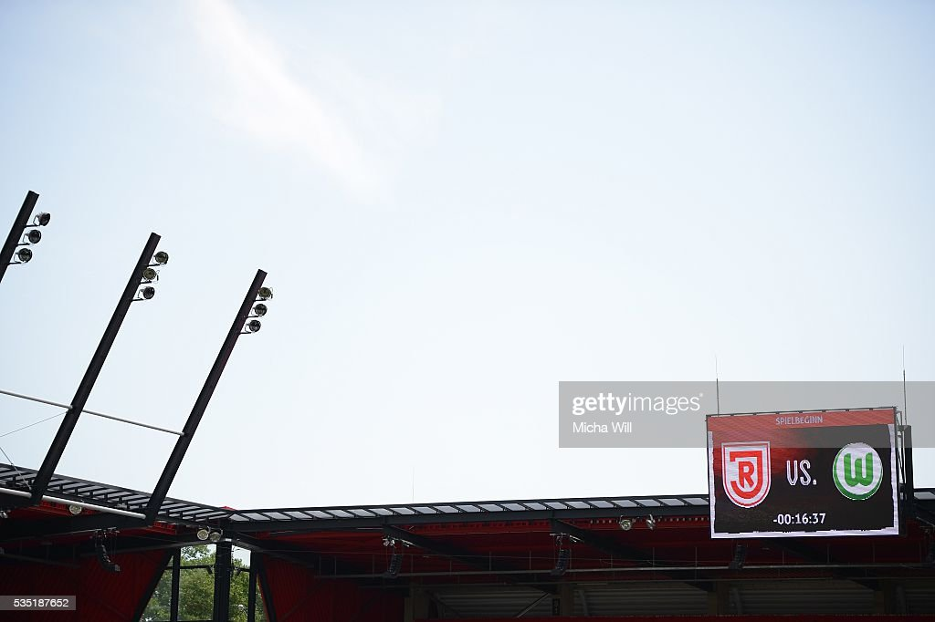A general view is seen prior to the Third League play off second leg match between Jahn Regensburg and VfL Wolfsburg II at Continental Arena on May 29, 2016 in Regensburg, Germany.