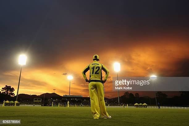 A general view is seen while Nicole Bolton of Australia fields as the sun sets during the women's one day international match between Australia and...