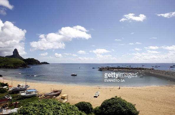 General view June 3 2009 of the port of the island of Fernando de Noronha in northeastern Brazil where the French used to have a radio base to...