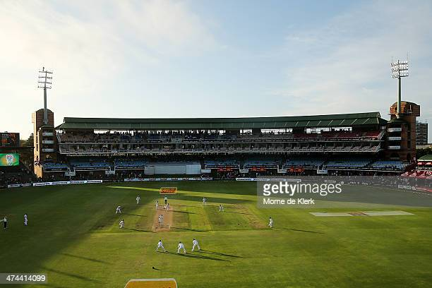 A general view late in the day during day four of the Second Test match between South Africa and Australia at AXXESS St George's Cricket Stadium on...