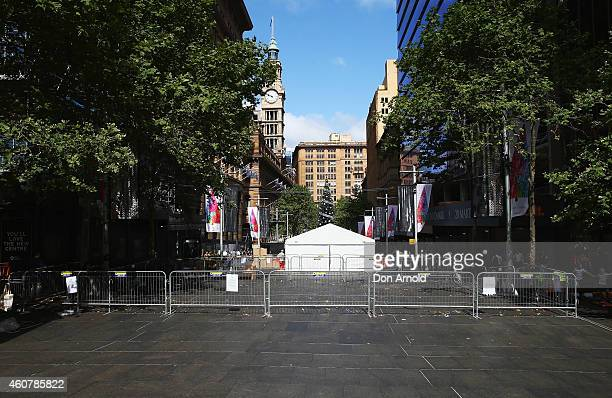 A general view looking down Martin Place between Phillip and Elizabeth Street's is seen on December 23 2014 in Sydney Australia Volunteers have...