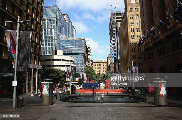 A general view looking down Martin Place from Elizabeth Street is seen on December 23 2014 in Sydney Australia Volunteers have gathered at Martin...