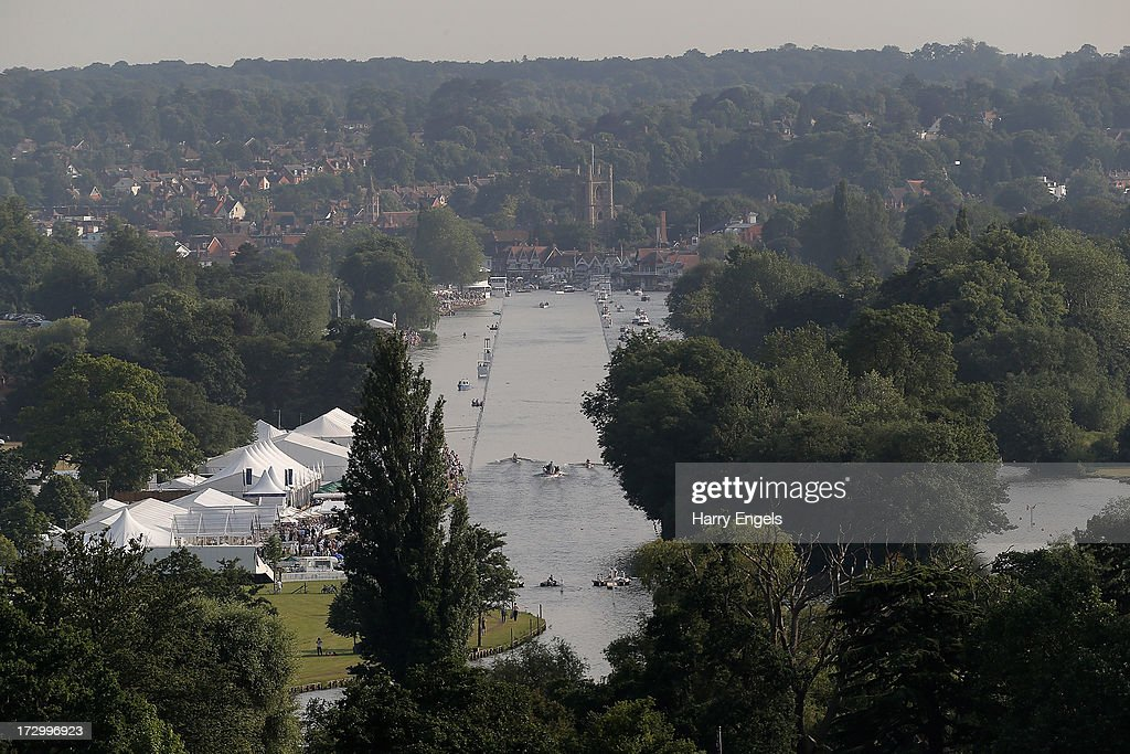 A general view looking down the Henley straight from a nearby hillside on day three of the Henley Royal Regatta on July 5, 2013 in Henley-on-Thames, England.