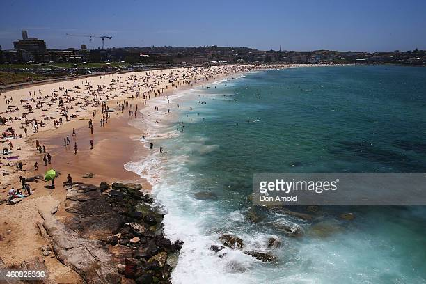 A general view looking northward is seen at Bondi Beach on December 25 2014 in Sydney Australia Bondi Beach is a popular tourist destination on...