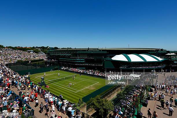 General view looking towards No1 Court during day two of the Wimbledon Lawn Tennis Championships at the All England Lawn Tennis and Croquet Club on...