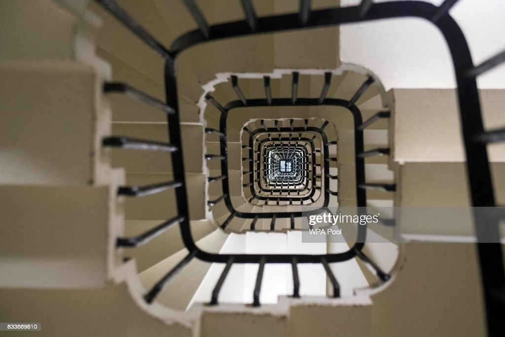 General view looking up the spiral staircase within the Elizabeth Tower, consisting of 334 steps, ahead of the bell ceasing to chime on Monday at the Palace of Westminster on August 17, 2017 in London, England.