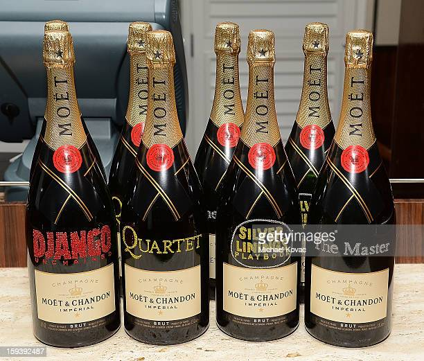 General view Moet Chandon champagne bottles with the names of films written on them at Moet Chandon and the HFPA Toast The Weinstein Company Golden...