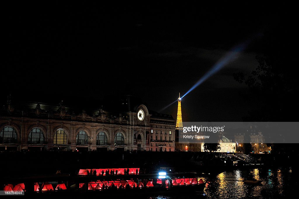 A general view moments before Chinese artist Cai Guo-Qiang presented his conceptual pyrotechnic show over the Seine River for Nuit Blanche on Pont Royal on October 5, 2013 in Paris, France.