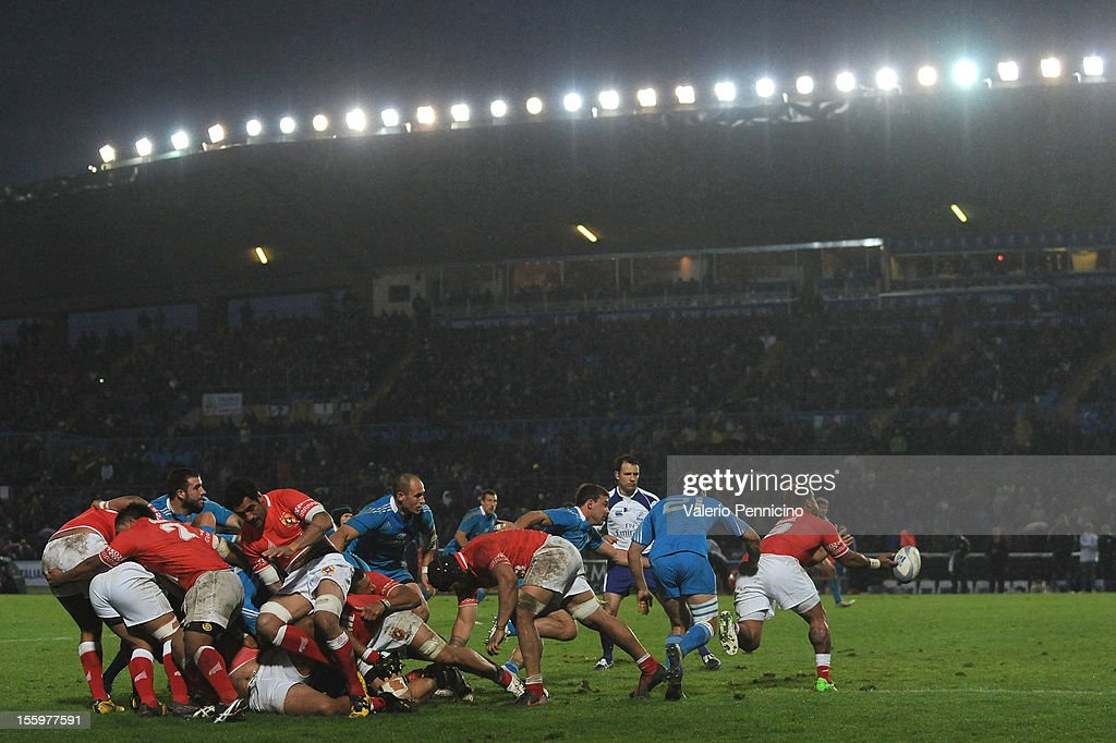 A general view o action during the international test match between Italy and Tonga at Mario Rigamonti Stadium on November 10, 2012 in Brescia, Italy.