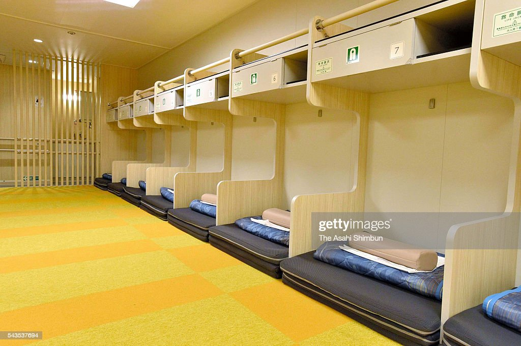 A general view of 2nd class Women's only sleeping room of the new 'OgasawaraMaru' ferry during the press preview on June 29 2016 in Tokyo Japan The...