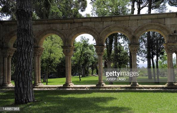 General view of a 12th century Romanesque cloister on June 8 2012 in Palamos inside the garden of a private home in Girona province without anyone...