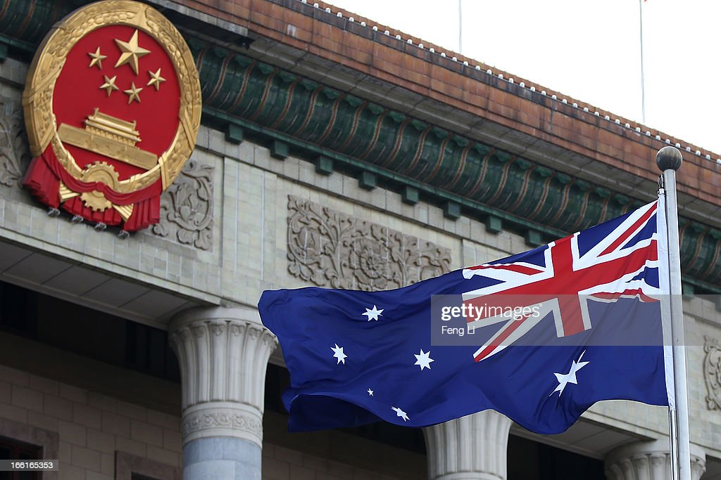 A general view of a Australian flag is seen during a welcome ceremony for Australia's Prime Minister Julia Gillard outside the Great Hall of the People on April 9, 2013 in Beijing, China. At the invitation of Chinese Premier Li Keqiang, Australian Prime Minister Julia Gillard will pay an official visit to China after the Boao Forum for Asia Annual Conference 2013.