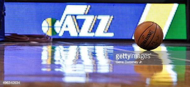 General view of a ball on court during the game between the Portland Trail Blazers and the Utah Jazz at Vivint Smart Home Arena on November 4 2015 in...