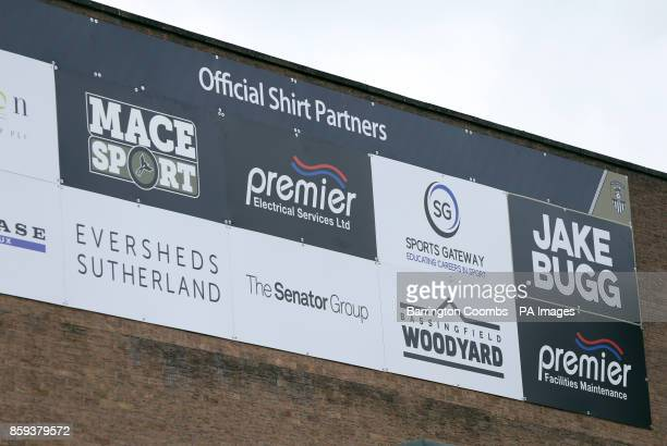 A general view of a banner featuring Notts County sponsors during the match at Meadow Lane Nottingham