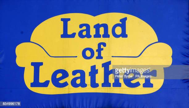A general view of a banner outside of a Land of Leather store in Edge Lane Liverpool as the future of 850 staff at furniture retailer Land of Leather...
