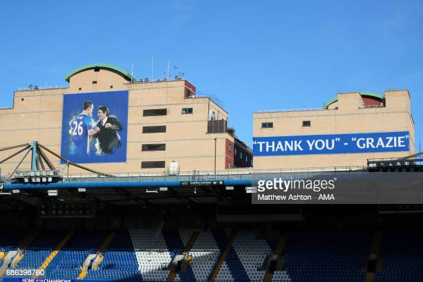 General View of a banner showing John Terry of Chelsea and Manager / Head Coach Antonio Conte at the end of the Premier League match between Chelsea...