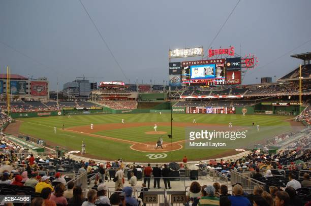 General view of a baseball game between the Washington Nationals and the Los Angeles Dodgers on August 27 2008 at Nationals Park in Washington DC
