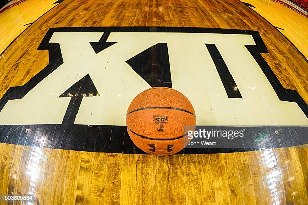 General view of a basketball and Big 12 logo taken before the game between the Texas Tech Red Raiders and the Texas Longhorns on January 02 2016 at...