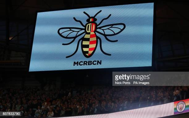 A general view of a Bee Logo shown in solidarity with the victims of the Barcelona terror attacks