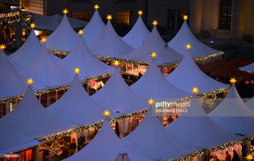 General view of a Berlin's winter market at the Gendarmenmarkt after its official opening on November 26, 2012 in the German Capital. The market opens its doors from November 26 to December 31, 2012.