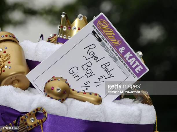 A general view of a betting display for the Royal baby during Ladies Day on Day 3 of Royal Ascot at Ascot Racecourse on June 20 2013 in Ascot England