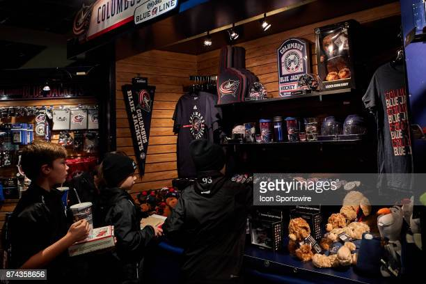 A general view of a Blue Jackets merchandise store before a game between the Columbus Blue Jackets and the Caroling Hurricanes on November 10 at...