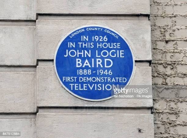 A general view of a blue plaque commemorating TV pioneer John Logie Baird at 22 Frith Street Soho in London