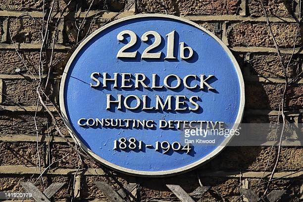 A general view of a blue plaque outside the former home of the fictional Character Sherlock Holmes on March 26 2012 in London England 221B Baker...