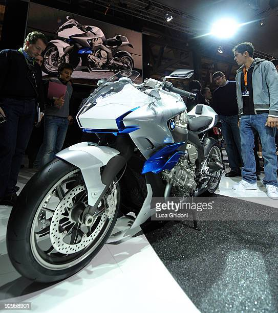 A general view of a BMW inline sixcylinder café racer concept during the EICMA 67th international bicycle and motorcycle exhibition 2009 on November...