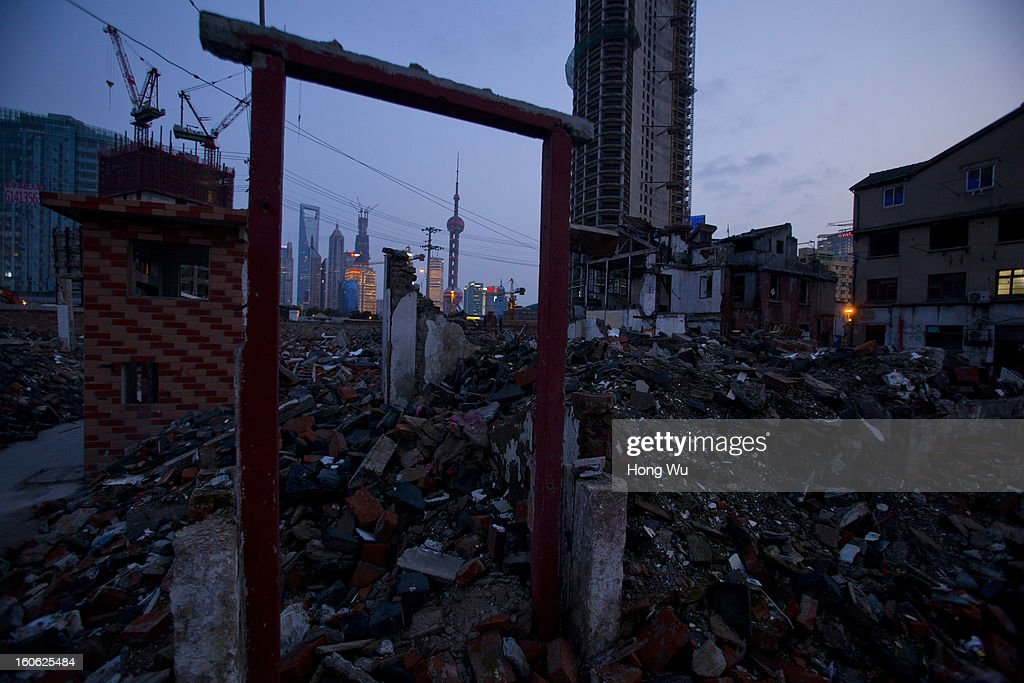 A general view of a broken door frame at a demolition area on February 2, 2013 in Shanghai, China.