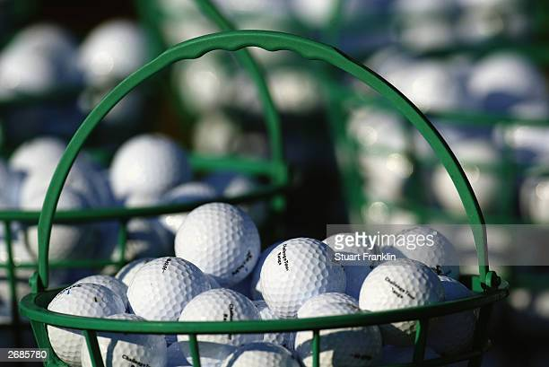 General view of a bucket of practice golf balls taken during the third round of The Challenge Tour Grand Final held on October 25 2003 at Le Golf Du...