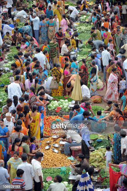 A general view of a bustling market place in Ahmedabad on September 16 2010 India's central bank raised its main interest rates more than expected...