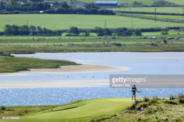 General View of a caddie on the 6th green during day three of the Dubai Duty Free Irish Open at Portstewart Golf Club on July 8 2017 in Londonderry...
