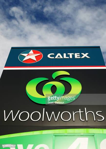 A general view of a Caltex Woolworths petrol station in Geelong on August 10 2017 in Melbourne Australia The Australian Competition and Consumer...