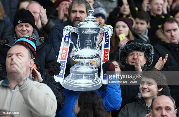General view of a cardboard FA Cup trophy during The Emirates FA Cup match between Oxford United and Swansea City at Kassam Stadium on January 10...