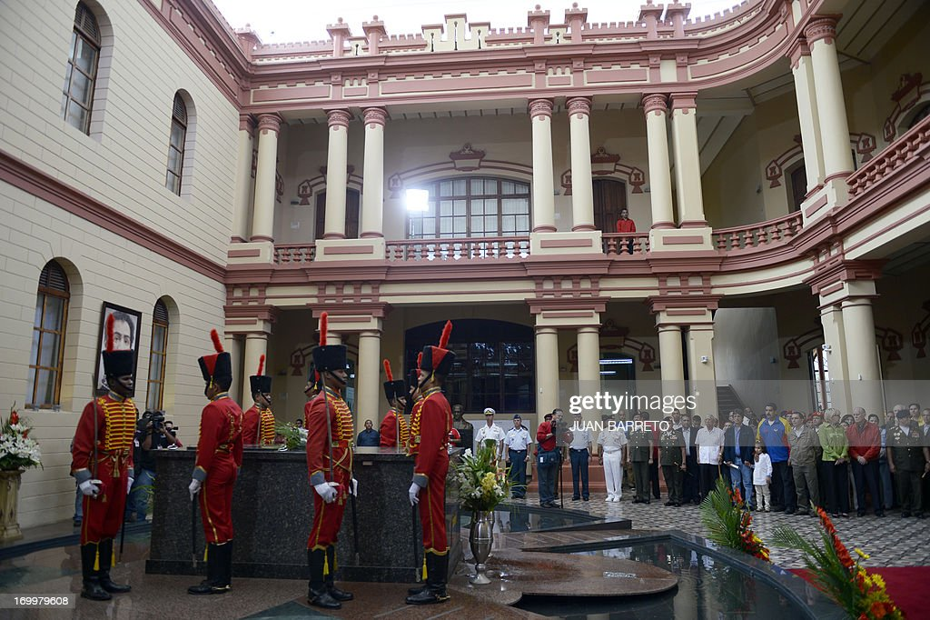 General view of a ceremony three months after former Venezuelan President Hugo Chavez's death, at the Cuartel de la Montana in Caracas, on June 5, 2013.