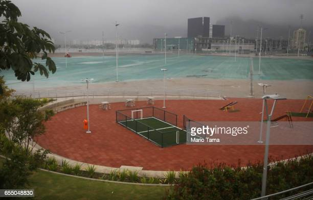 A general view of a children's soccer field in the Olympic Park on March 18 2017 in Rio de Janeiro Brazil Seven months after the Rio hosted the first...