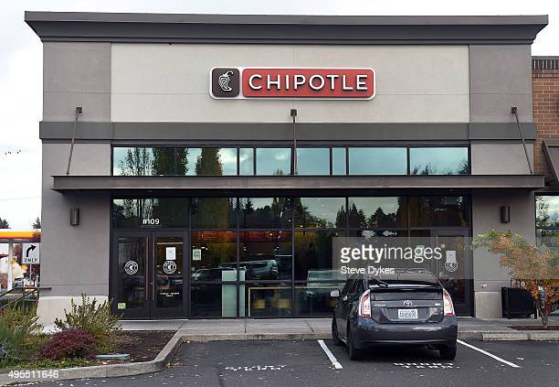 A general view of a Chipotle Mexican Grill store location in on November 3 2015 in Vancouver Washington Chipotle Mexican Grill is temporarily closing...