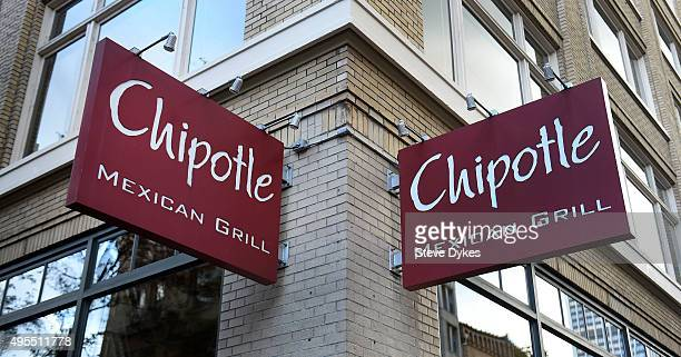 A general view of a Chipotle Mexican Grill store sign outside a location in downtown Portland on November 3 2015 in Portland Oregon Chipotle Mexican...