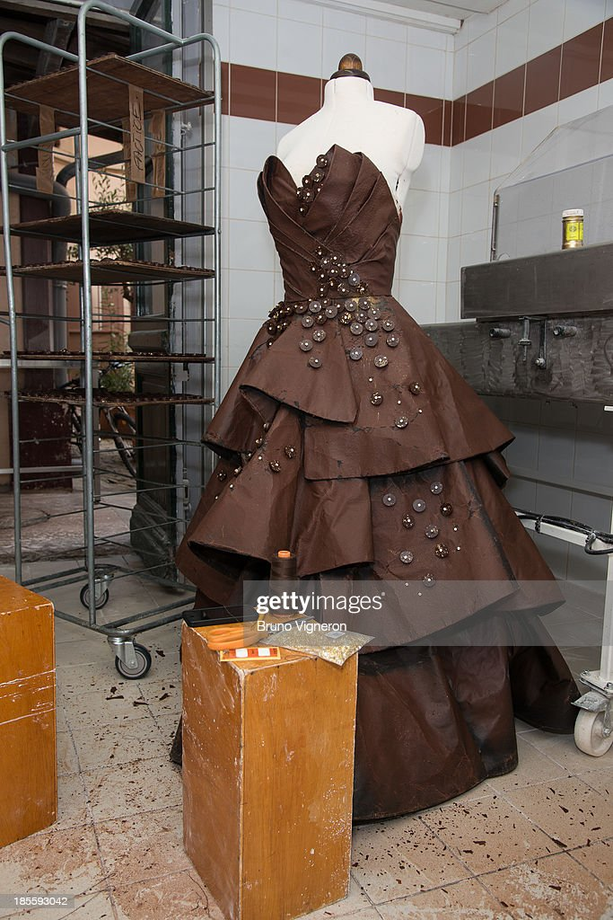 A general view of a chocolate dress on October 22, 2013 in Lyon, France. The six kilogram chocolate dress is made from golden leafs and savage silk and is to be worn by former professional tennis player Marion Bartoli at the Paris chocolate trade show 'Salon du Chocolat' on October 29, 2013 at Porte de Versailles.