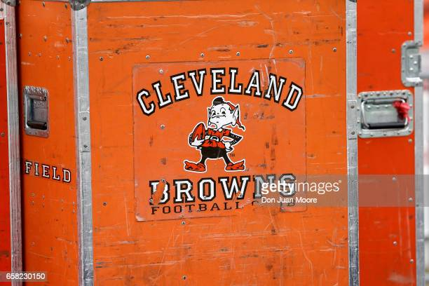 A general view of a Clevaland Browns equipment cart with the team's logo on it during the 2017 Resse's Senior Bowl at LaddPeebles Stadium on January...