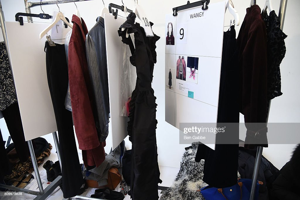 A general view of a clothing rack backstage at the Jill Stuart fashion show during Fall 2016 New York Fashion Week at Industria Superstudio on February 13, 2016 in New York City.