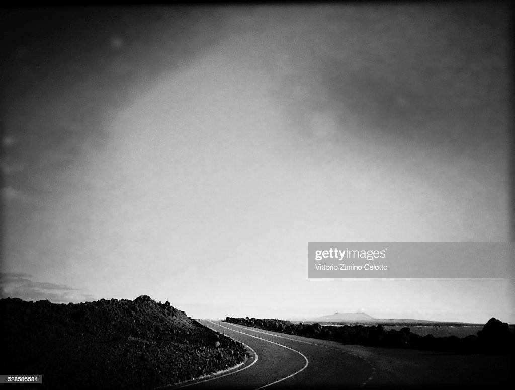 A general view of a coastal road in El Golfo on April 23, 2016 in Lanzarote, Spain.