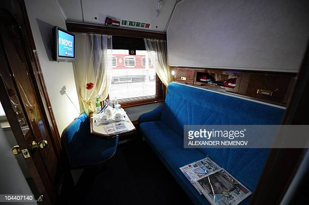 A general view of a compartment a new luxury train running between Moscow and Nice taken at Moscow's Belorussky station prior teh departure on...